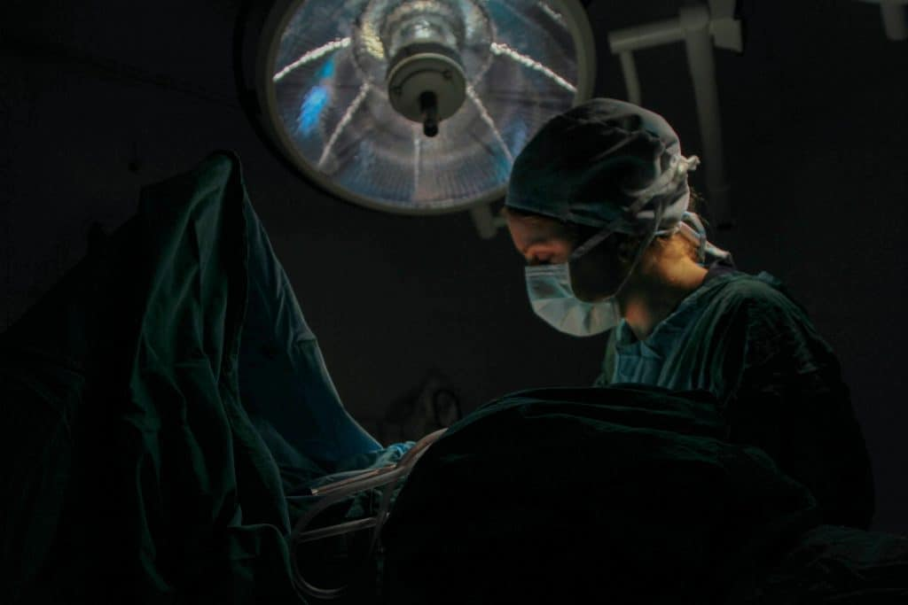 Female surgeon in operating room